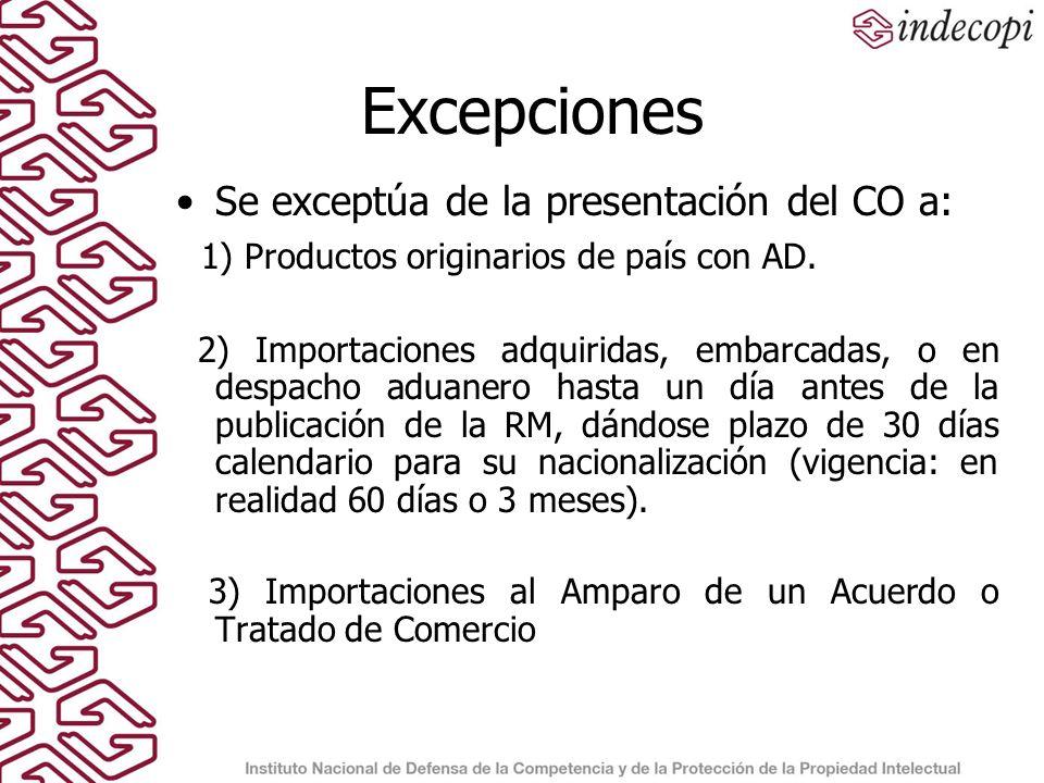 Excepciones Se exceptúa de la presentación del CO a: