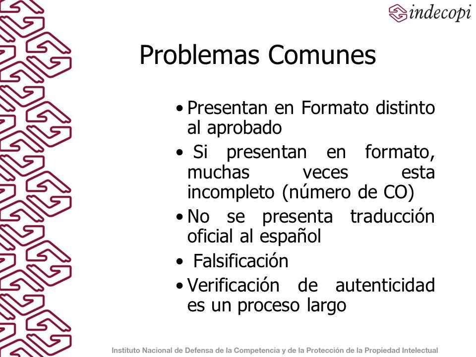 Problemas Comunes Presentan en Formato distinto al aprobado