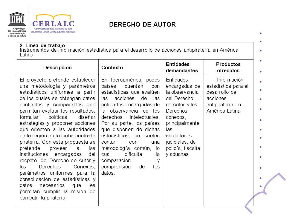 DERECHO DE AUTOR 2. Línea de trabajo