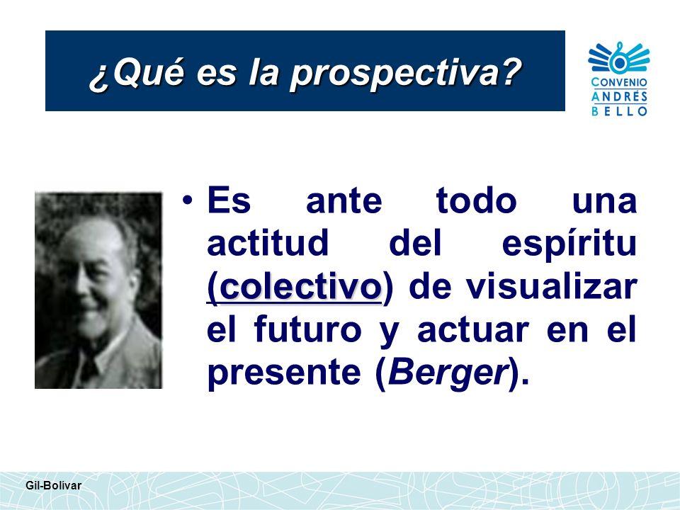 ¿Qué es la prospectiva Es ante todo una actitud del espíritu (colectivo) de visualizar el futuro y actuar en el presente (Berger).