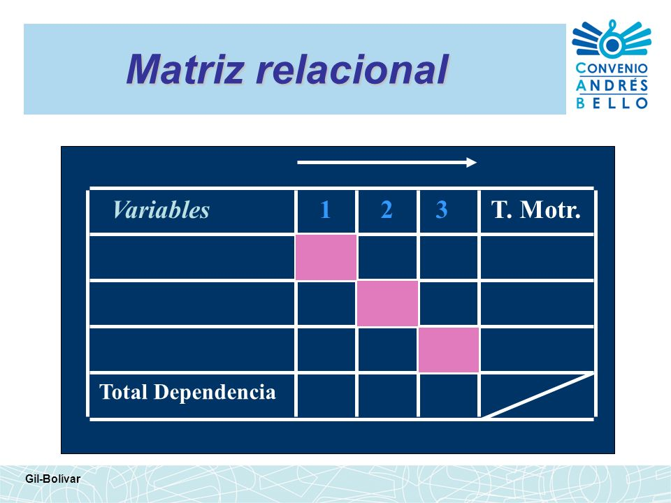 Matriz relacional Variables 1 2 3 T. Motr. Total Dependencia