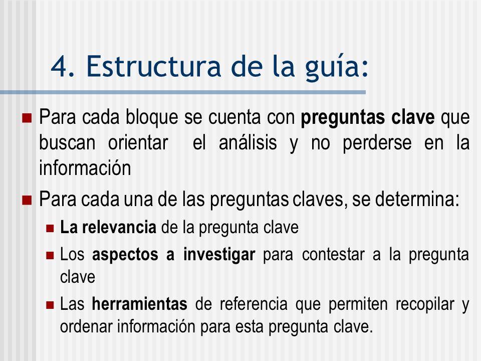 4. Estructura de la guía: Para cada bloque se cuenta con preguntas clave que buscan orientar el análisis y no perderse en la información.