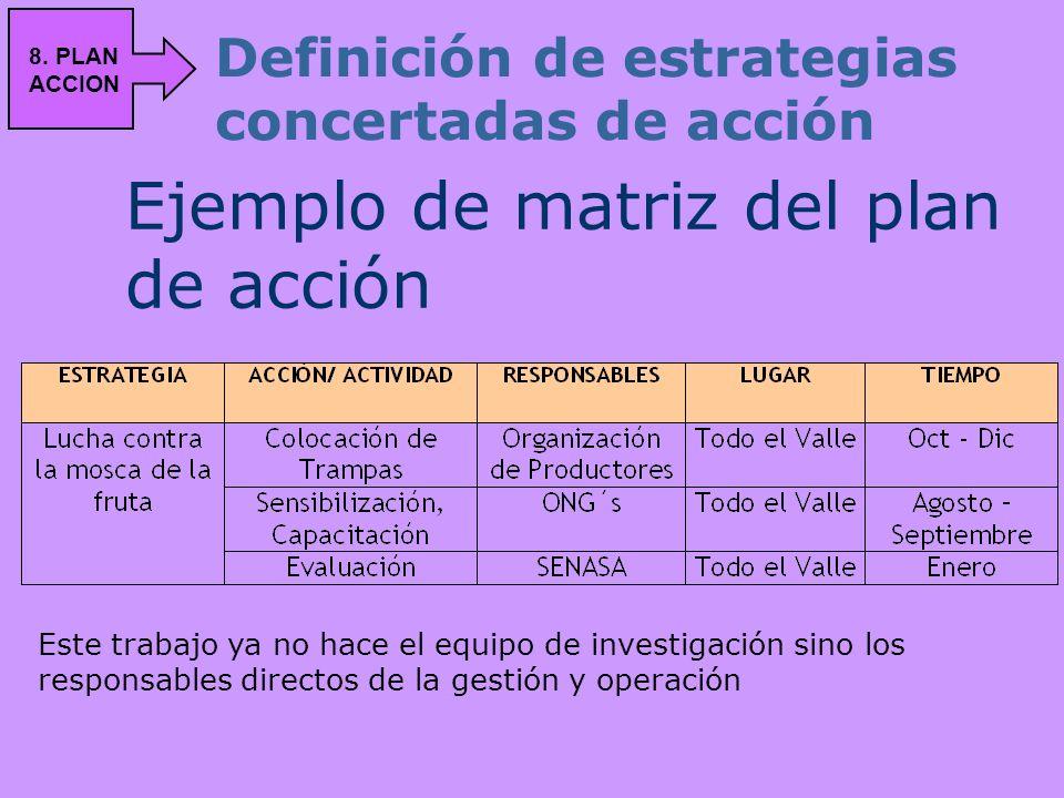 Ejemplo de matriz del plan de acción