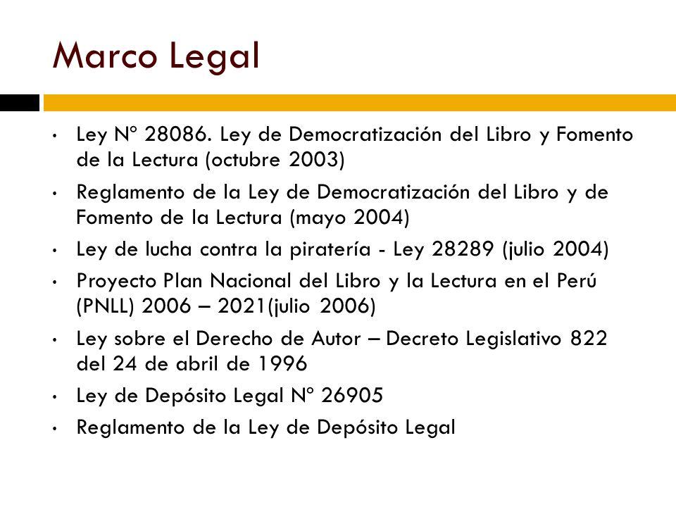 Marco Legal Ley Nº 28086. Ley de Democratización del Libro y Fomento de la Lectura (octubre 2003)