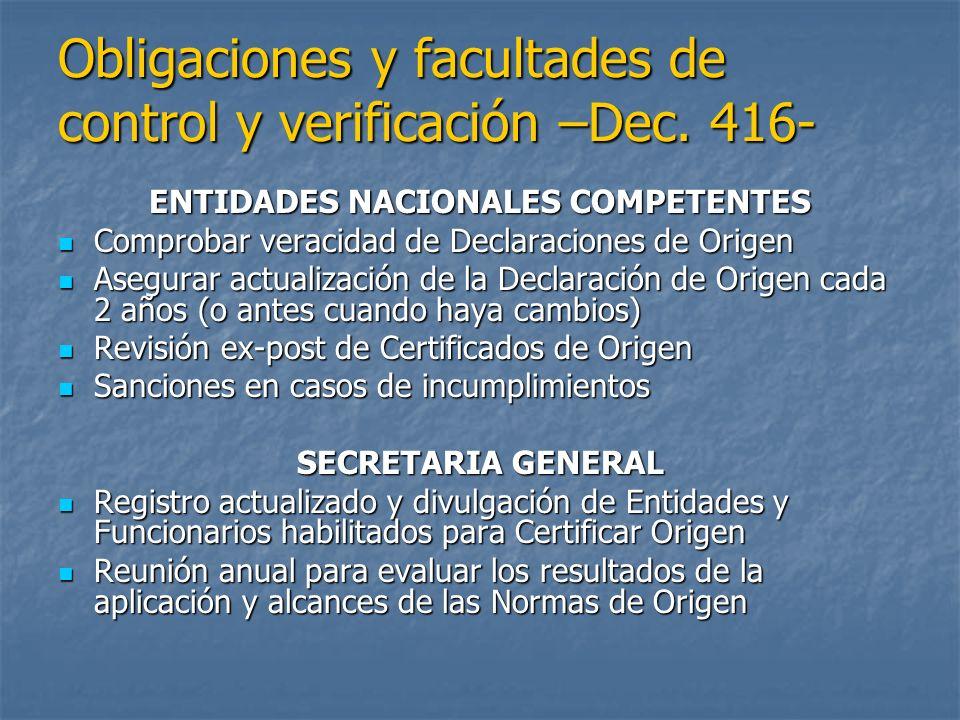 Obligaciones y facultades de control y verificación –Dec. 416-