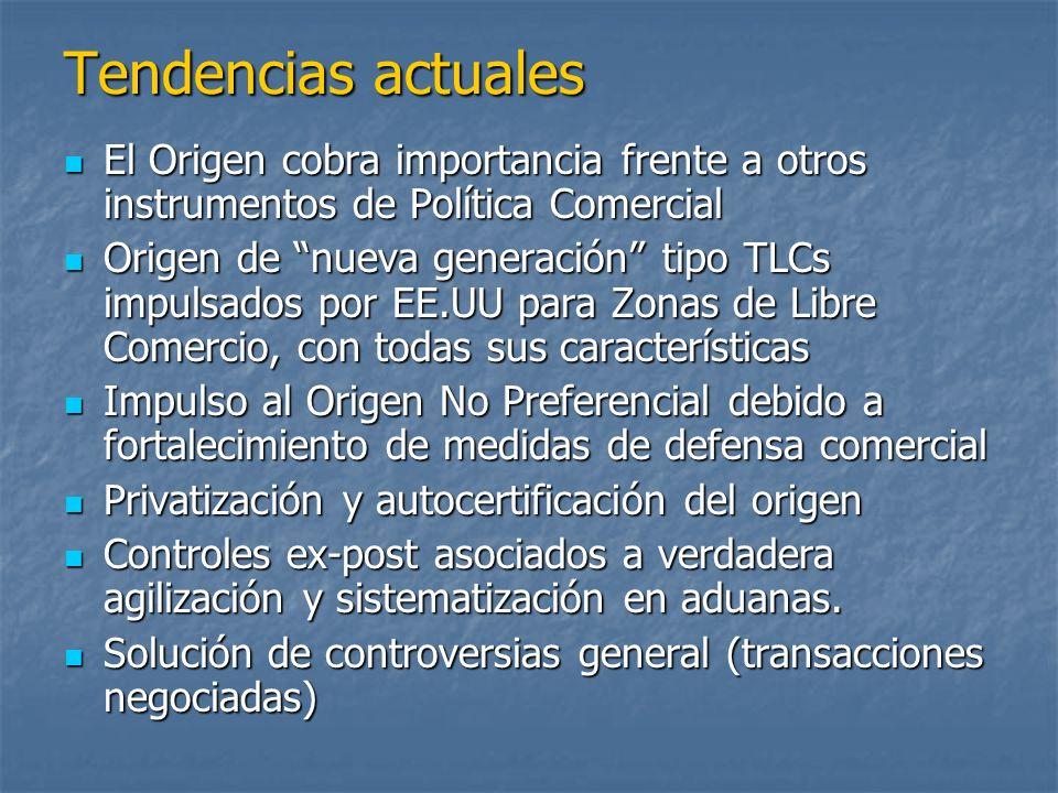 Tendencias actuales El Origen cobra importancia frente a otros instrumentos de Política Comercial.