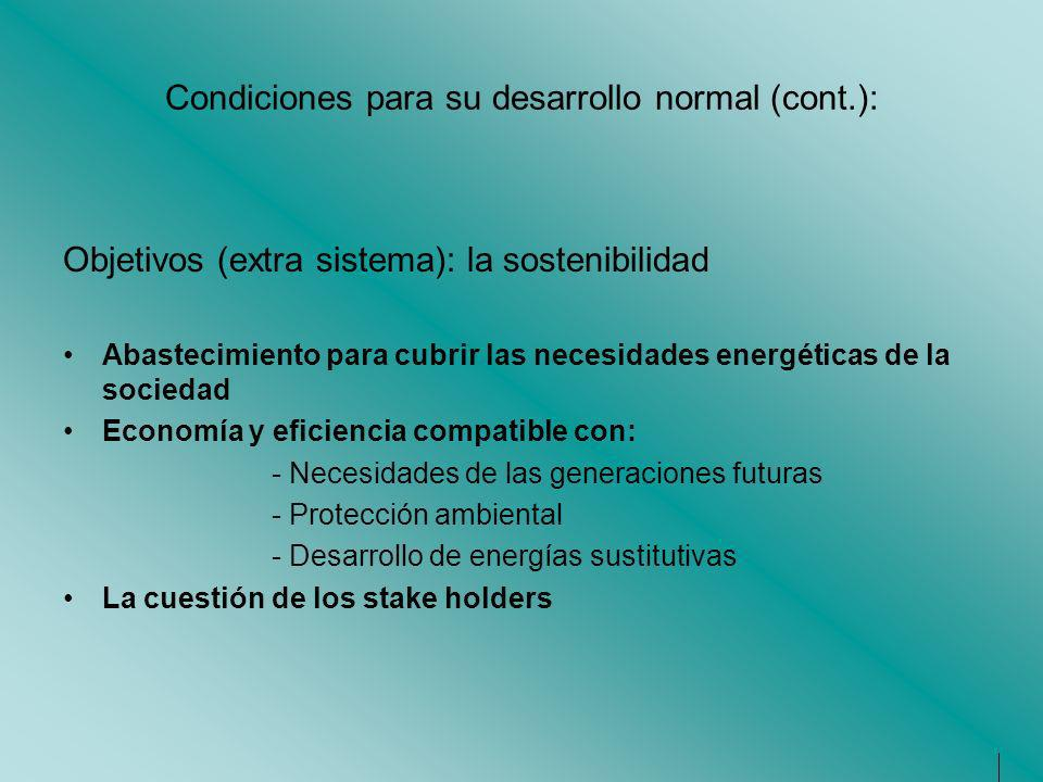 Condiciones para su desarrollo normal (cont.):