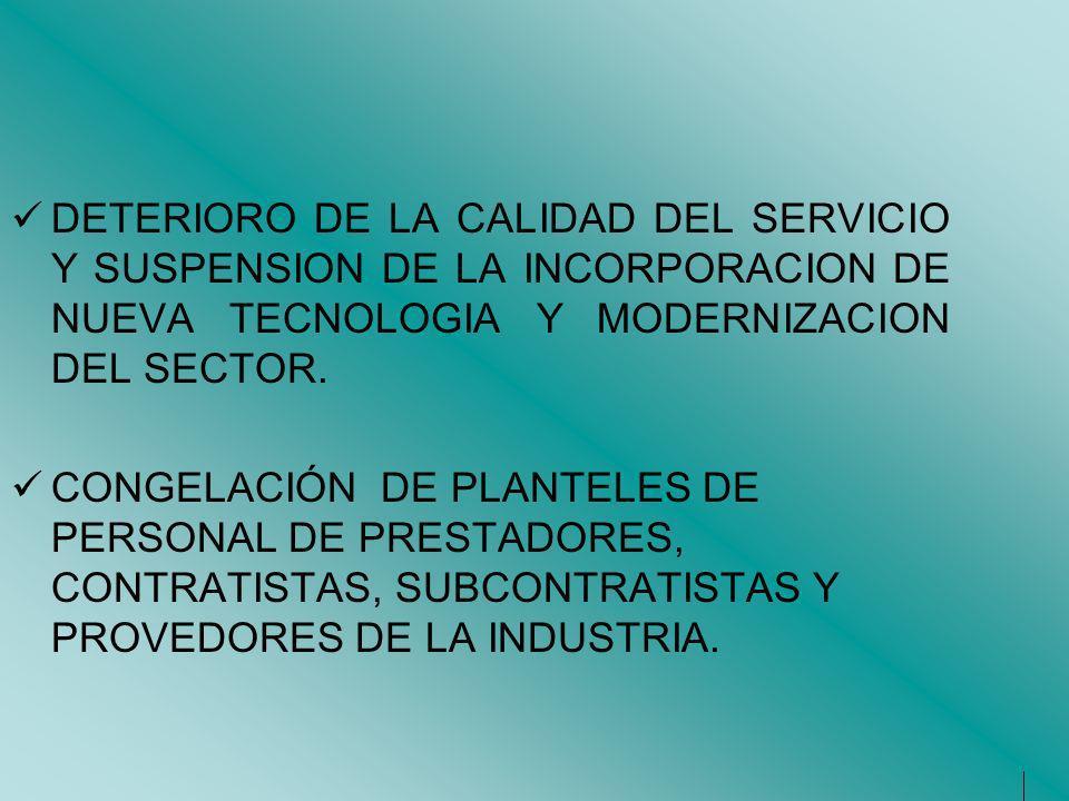 DETERIORO DE LA CALIDAD DEL SERVICIO Y SUSPENSION DE LA INCORPORACION DE NUEVA TECNOLOGIA Y MODERNIZACION DEL SECTOR.