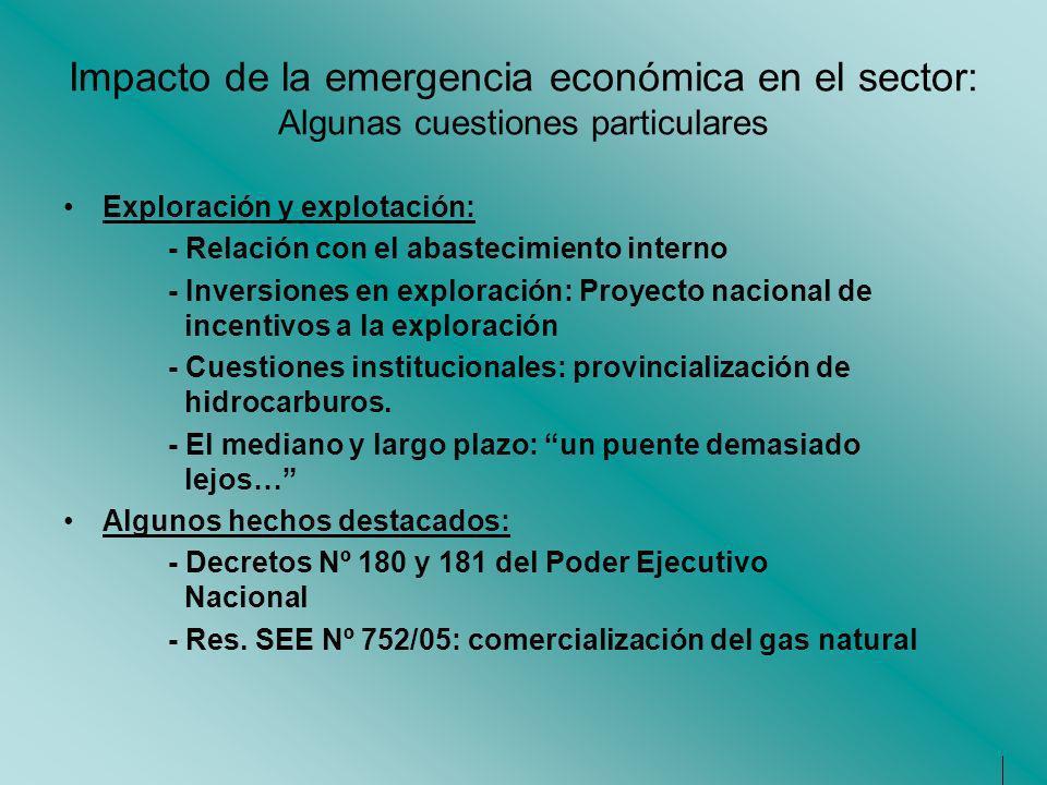 Impacto de la emergencia económica en el sector: Algunas cuestiones particulares