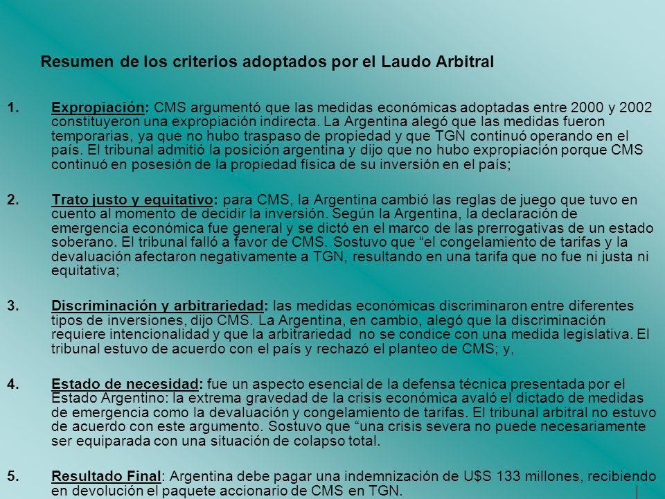 Resumen de los criterios adoptados por el Laudo Arbitral