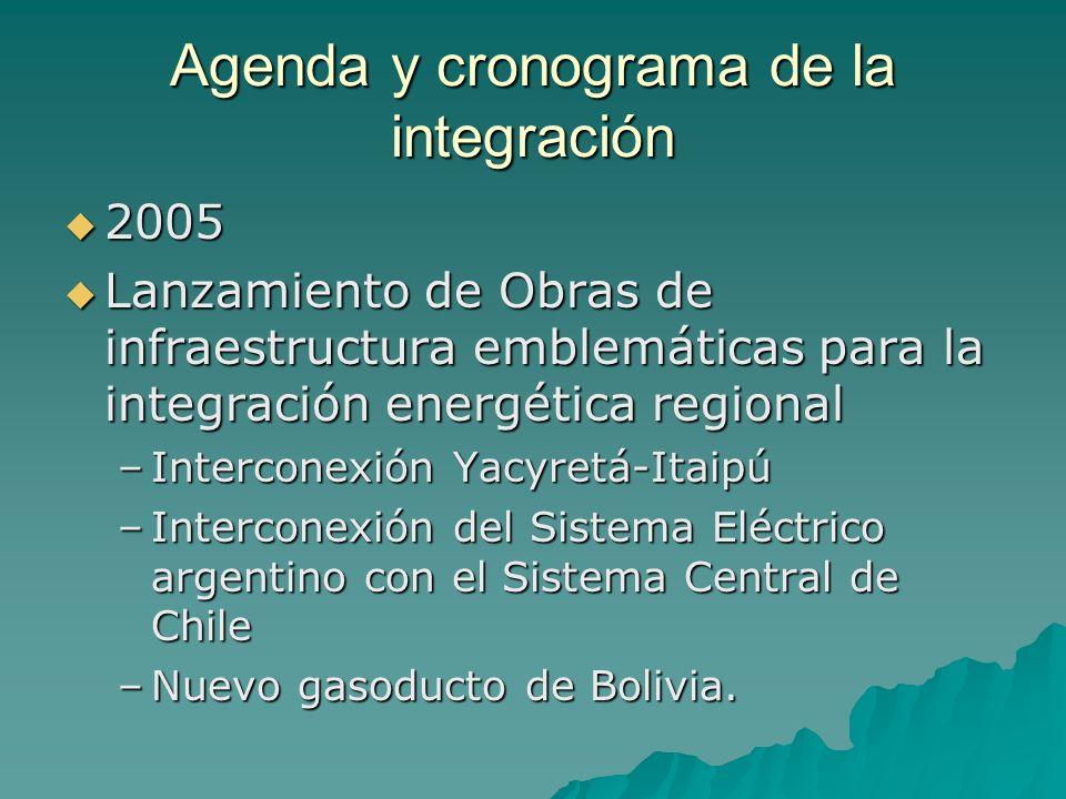 Agenda y cronograma de la integración