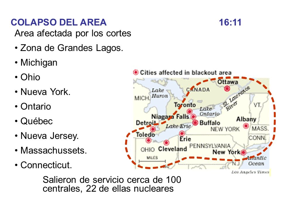 COLAPSO DEL AREA 16:11Area afectada por los cortes. Zona de Grandes Lagos. Michigan. Ohio. Nueva York.