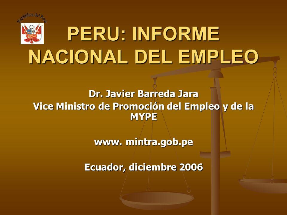 PERU: INFORME NACIONAL DEL EMPLEO