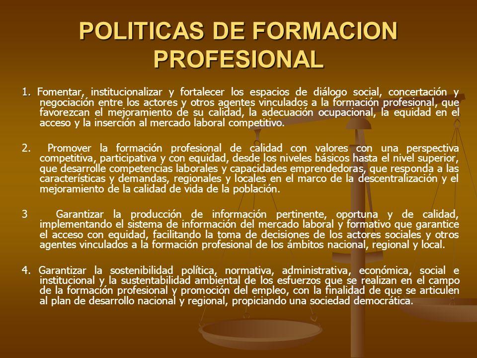 POLITICAS DE FORMACION PROFESIONAL