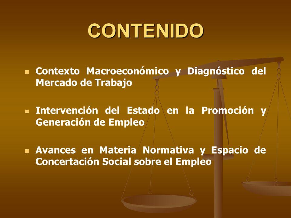CONTENIDO Contexto Macroeconómico y Diagnóstico del Mercado de Trabajo