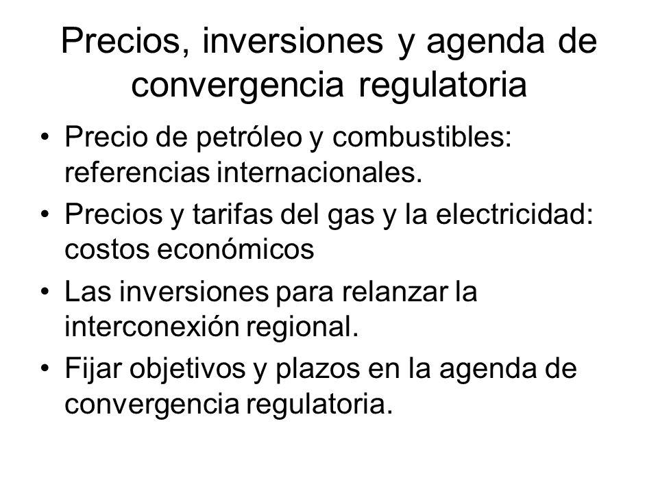 Precios, inversiones y agenda de convergencia regulatoria