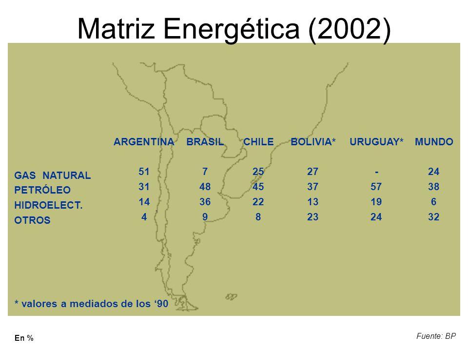Matriz Energética (2002) ARGENTINA 51 31 14 4 BRASIL 7 48 36 9 CHILE