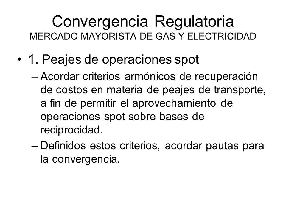 Convergencia Regulatoria MERCADO MAYORISTA DE GAS Y ELECTRICIDAD