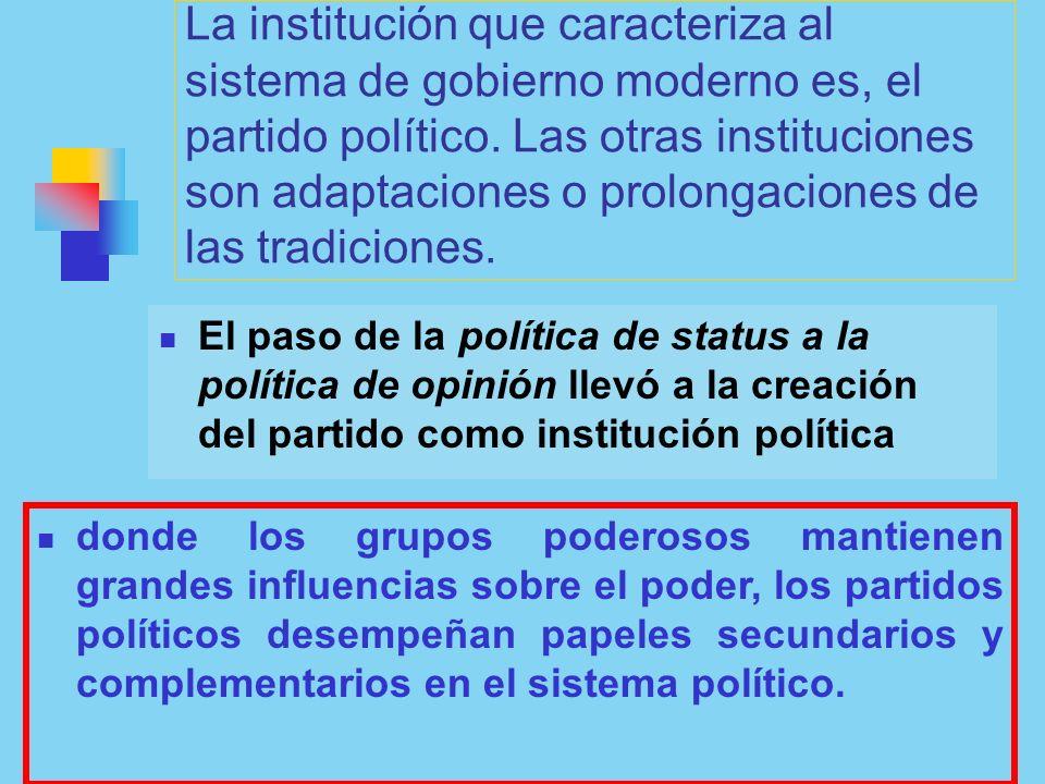 La institución que caracteriza al sistema de gobierno moderno es, el partido político. Las otras instituciones son adaptaciones o prolongaciones de las tradiciones.