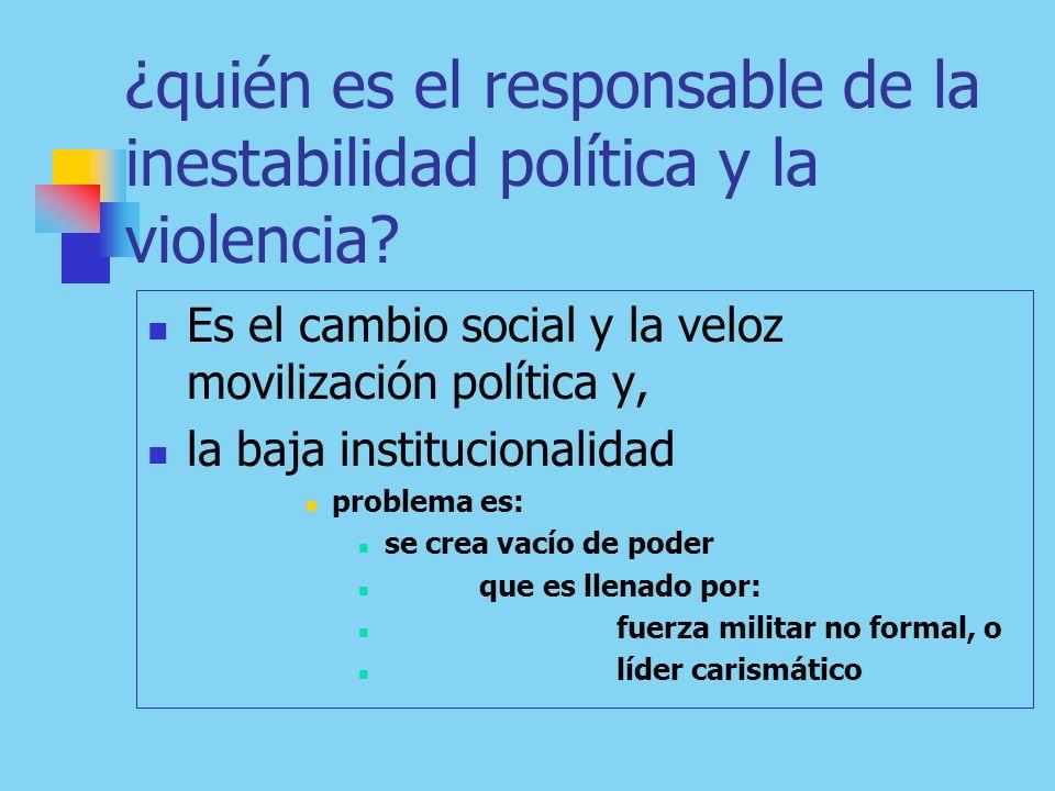 ¿quién es el responsable de la inestabilidad política y la violencia