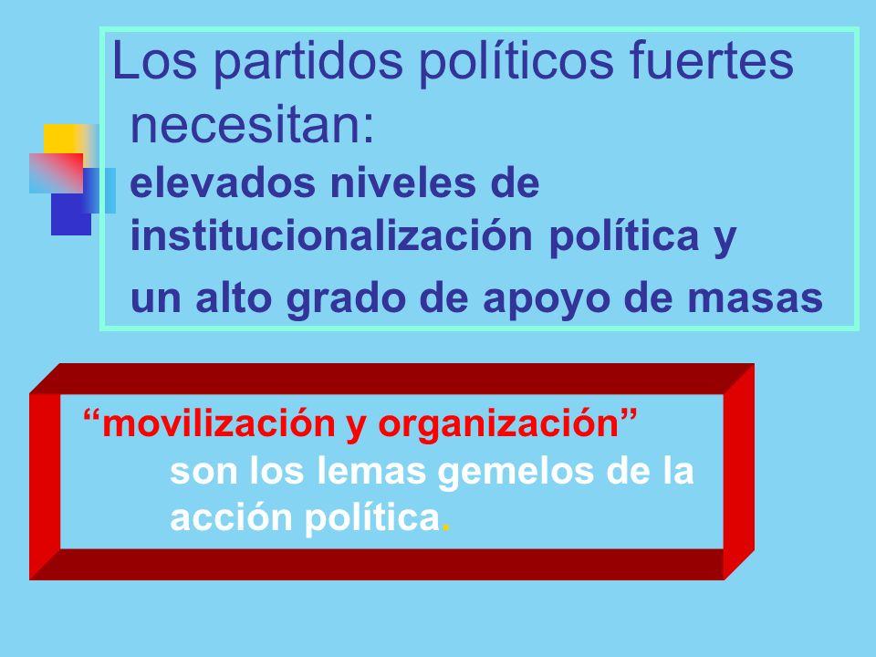 Los partidos políticos fuertes necesitan: elevados niveles de institucionalización política y un alto grado de apoyo de masas