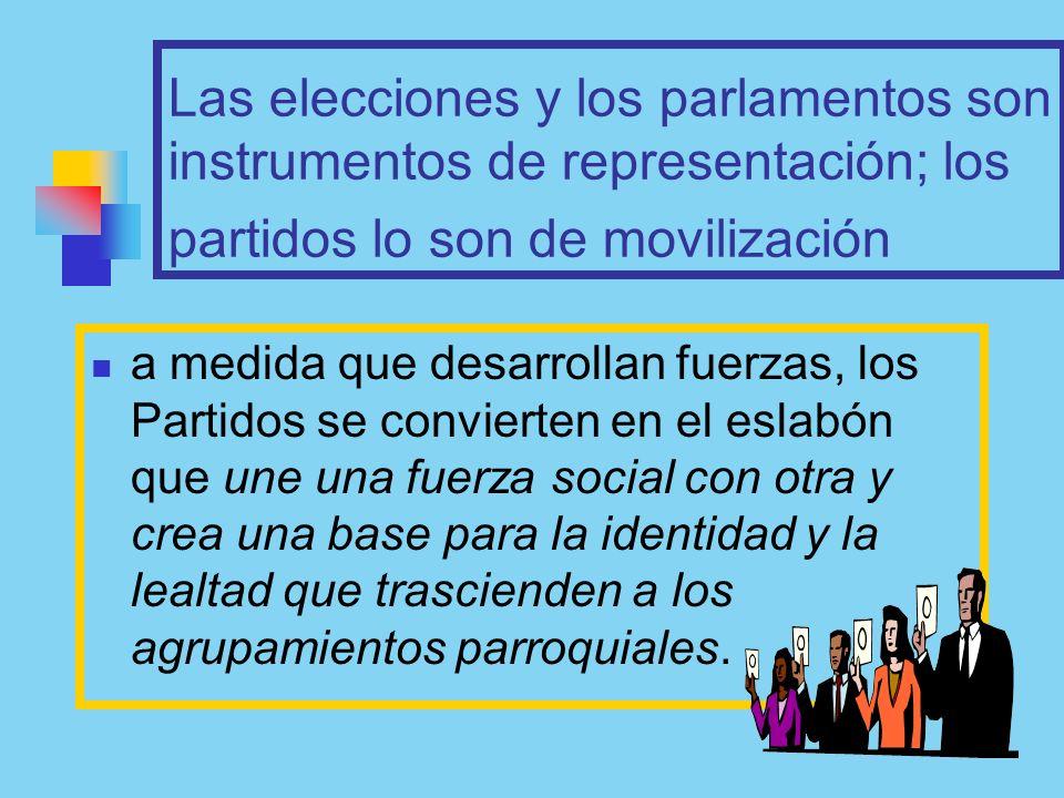 Las elecciones y los parlamentos son instrumentos de representación; los partidos lo son de movilización