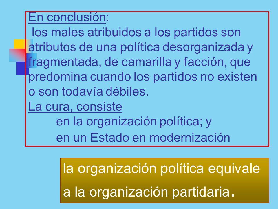la organización política equivale a la organización partidaria.