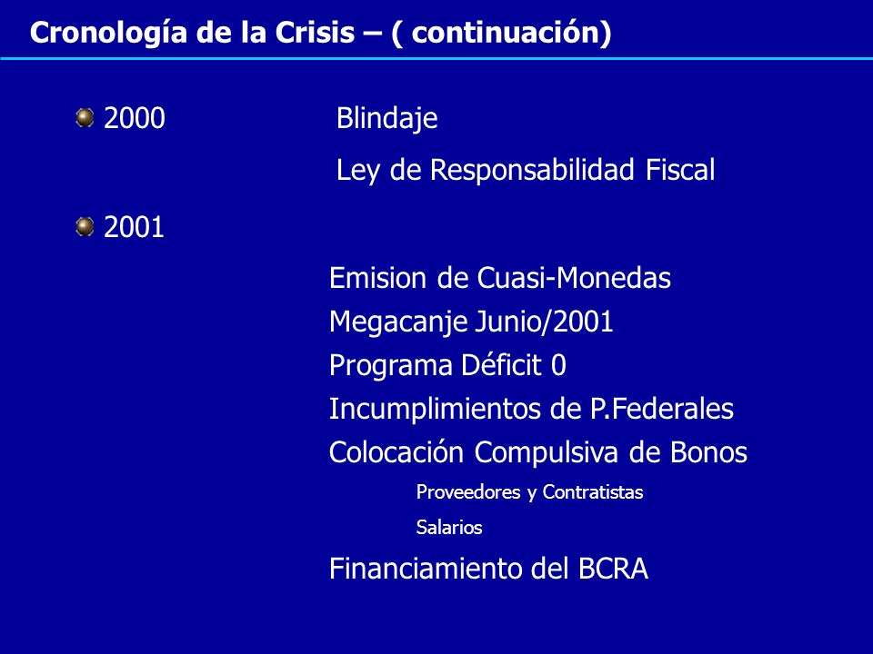 Cronología de la Crisis – ( continuación)