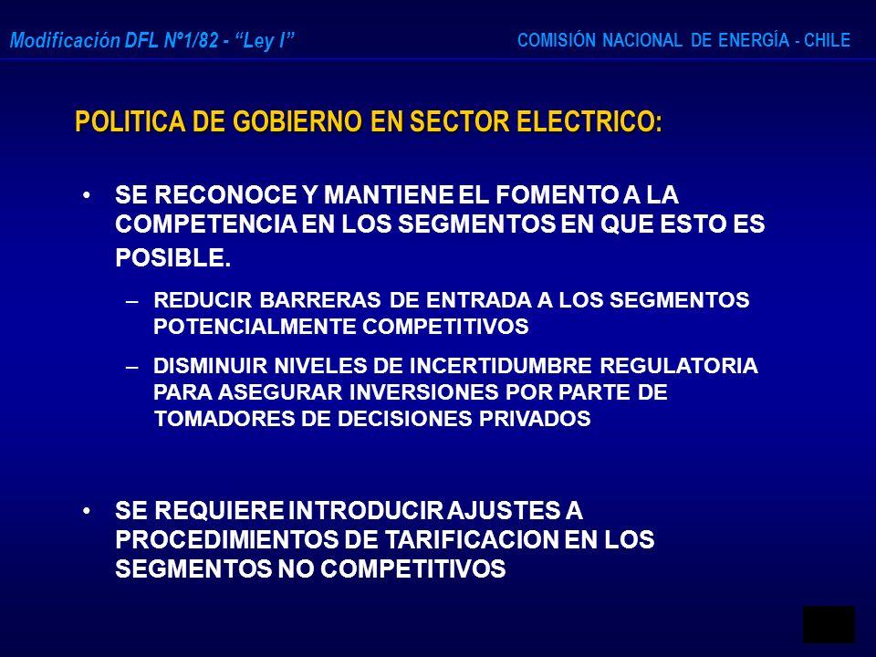 POLITICA DE GOBIERNO EN SECTOR ELECTRICO: