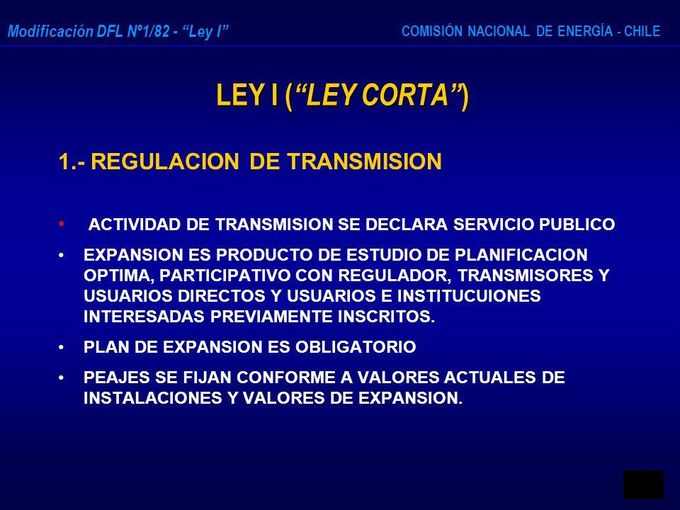 LEY I ( LEY CORTA ) 1.- REGULACION DE TRANSMISION