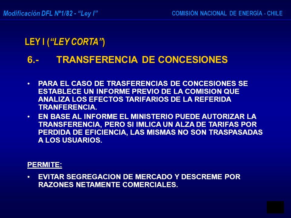 6.- TRANSFERENCIA DE CONCESIONES