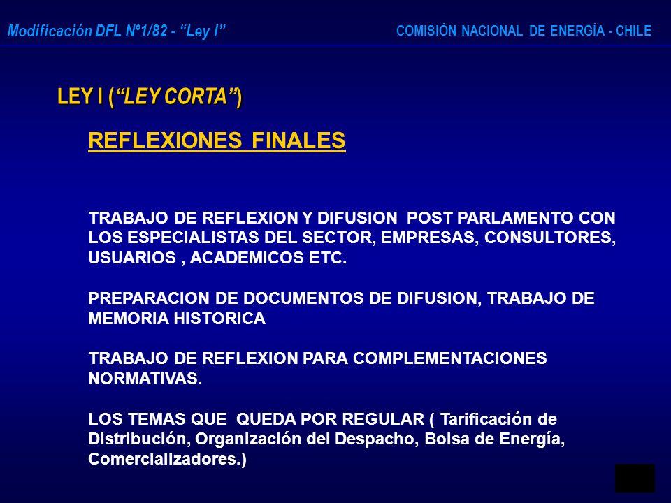 LEY I ( LEY CORTA ) REFLEXIONES FINALES