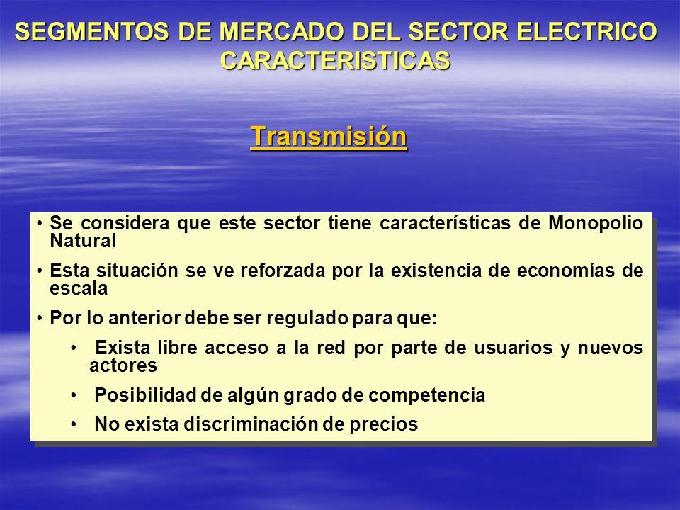 SEGMENTOS DE MERCADO DEL SECTOR ELECTRICO CARACTERISTICAS
