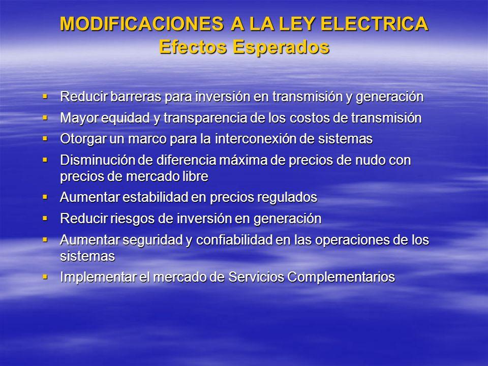 MODIFICACIONES A LA LEY ELECTRICA Efectos Esperados