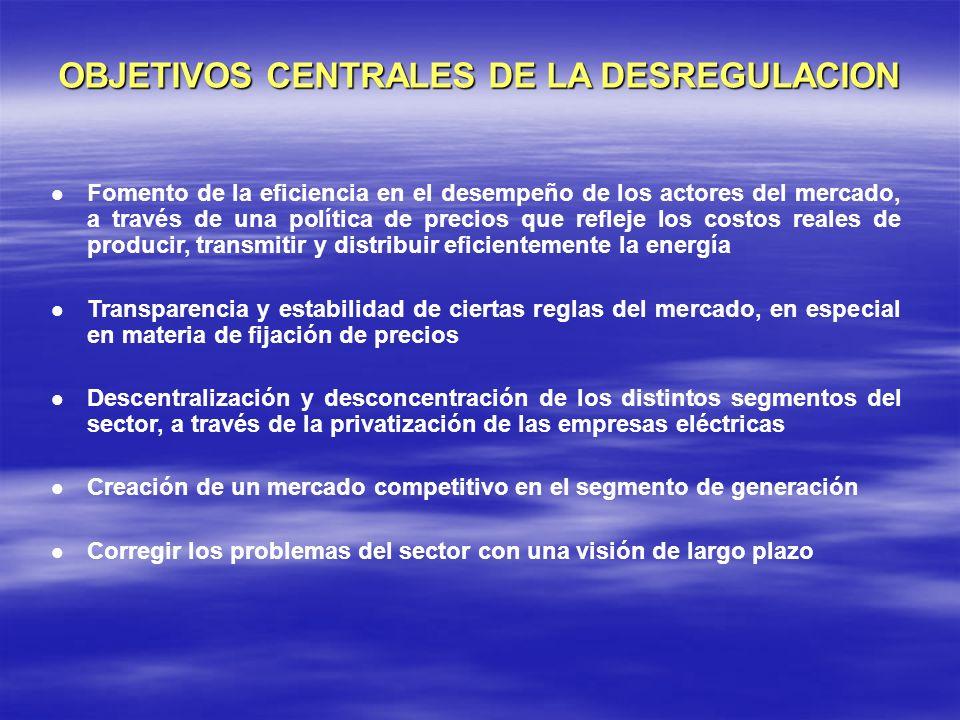 OBJETIVOS CENTRALES DE LA DESREGULACION