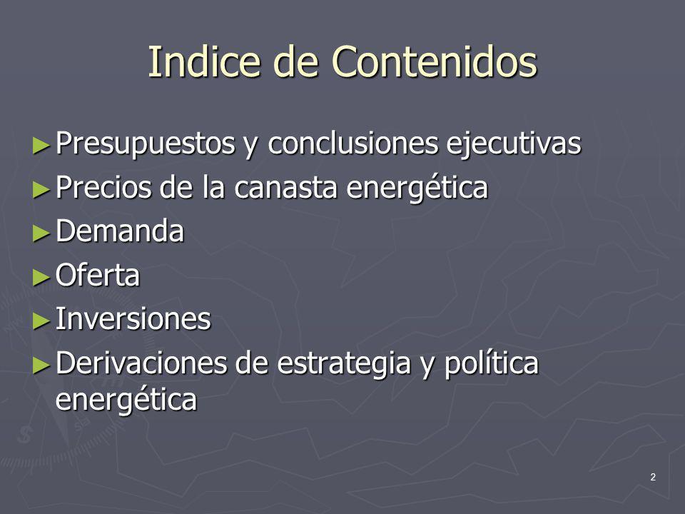 Indice de Contenidos Presupuestos y conclusiones ejecutivas