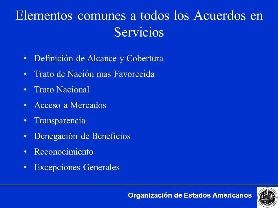 Elementos comunes a todos los Acuerdos en Servicios