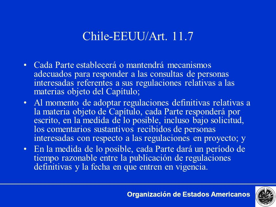 Chile-EEUU/Art. 11.7