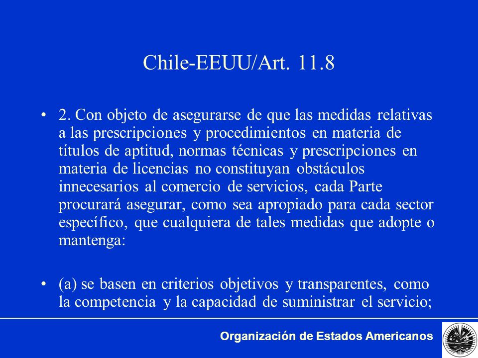 Chile-EEUU/Art. 11.8