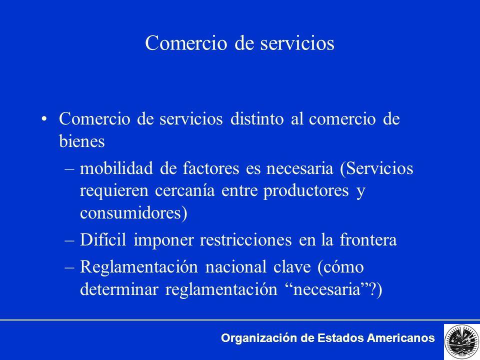 Comercio de servicios Comercio de servicios distinto al comercio de bienes.