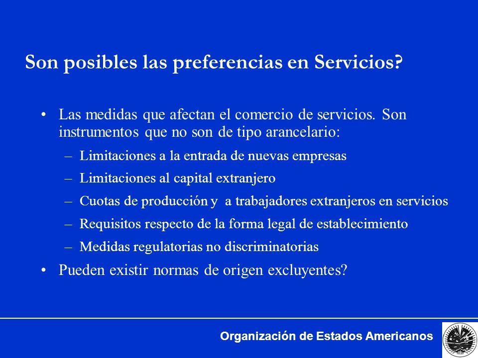 Son posibles las preferencias en Servicios