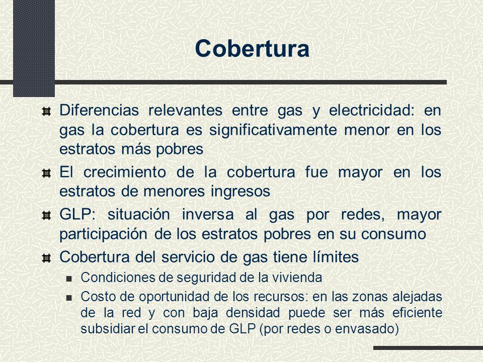 Cobertura Diferencias relevantes entre gas y electricidad: en gas la cobertura es significativamente menor en los estratos más pobres.