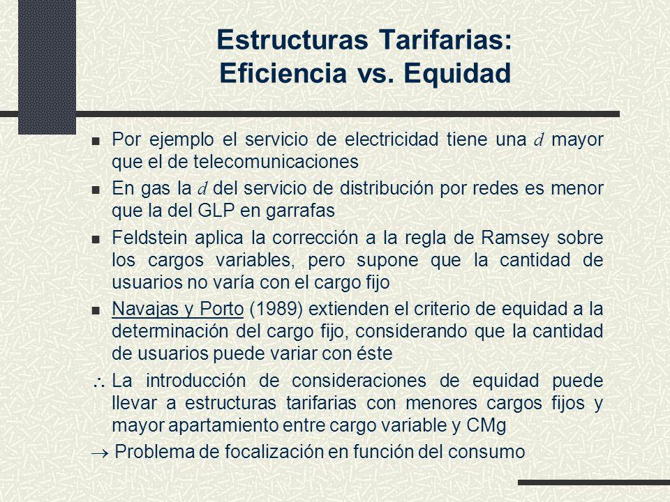 Estructuras Tarifarias: Eficiencia vs. Equidad