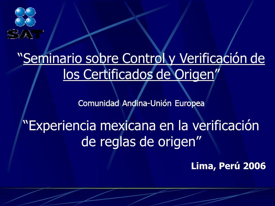 Seminario sobre Control y Verificación de los Certificados de Origen