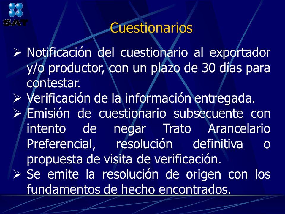 Cuestionarios Notificación del cuestionario al exportador y/o productor, con un plazo de 30 días para contestar.