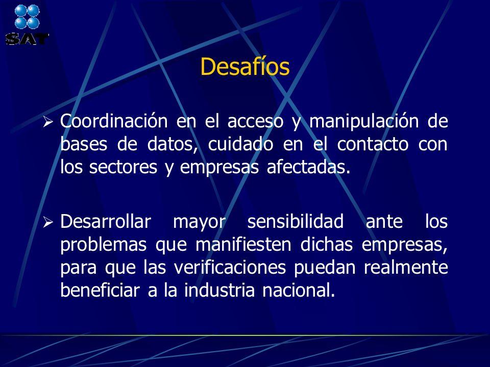 Desafíos Coordinación en el acceso y manipulación de bases de datos, cuidado en el contacto con los sectores y empresas afectadas.