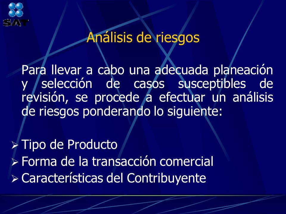 Análisis de riesgos Tipo de Producto Forma de la transacción comercial