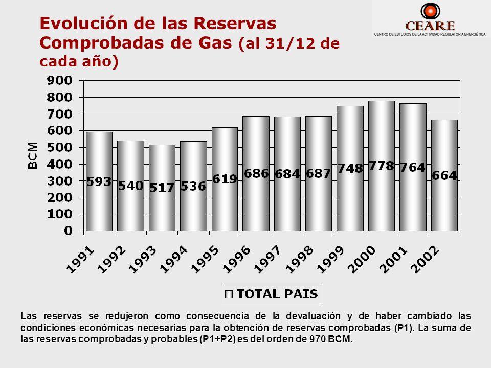 Evolución de las Reservas Comprobadas de Gas (al 31/12 de cada año)