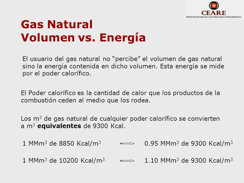 Gas Natural Volumen vs. Energía