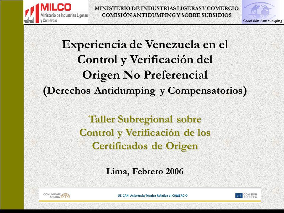 Experiencia de Venezuela en el Control y Verificación del